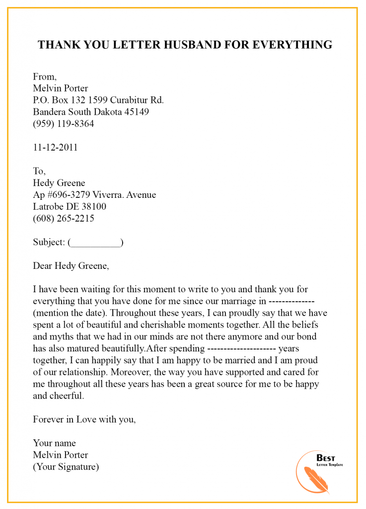 Thank You Letter to Husband