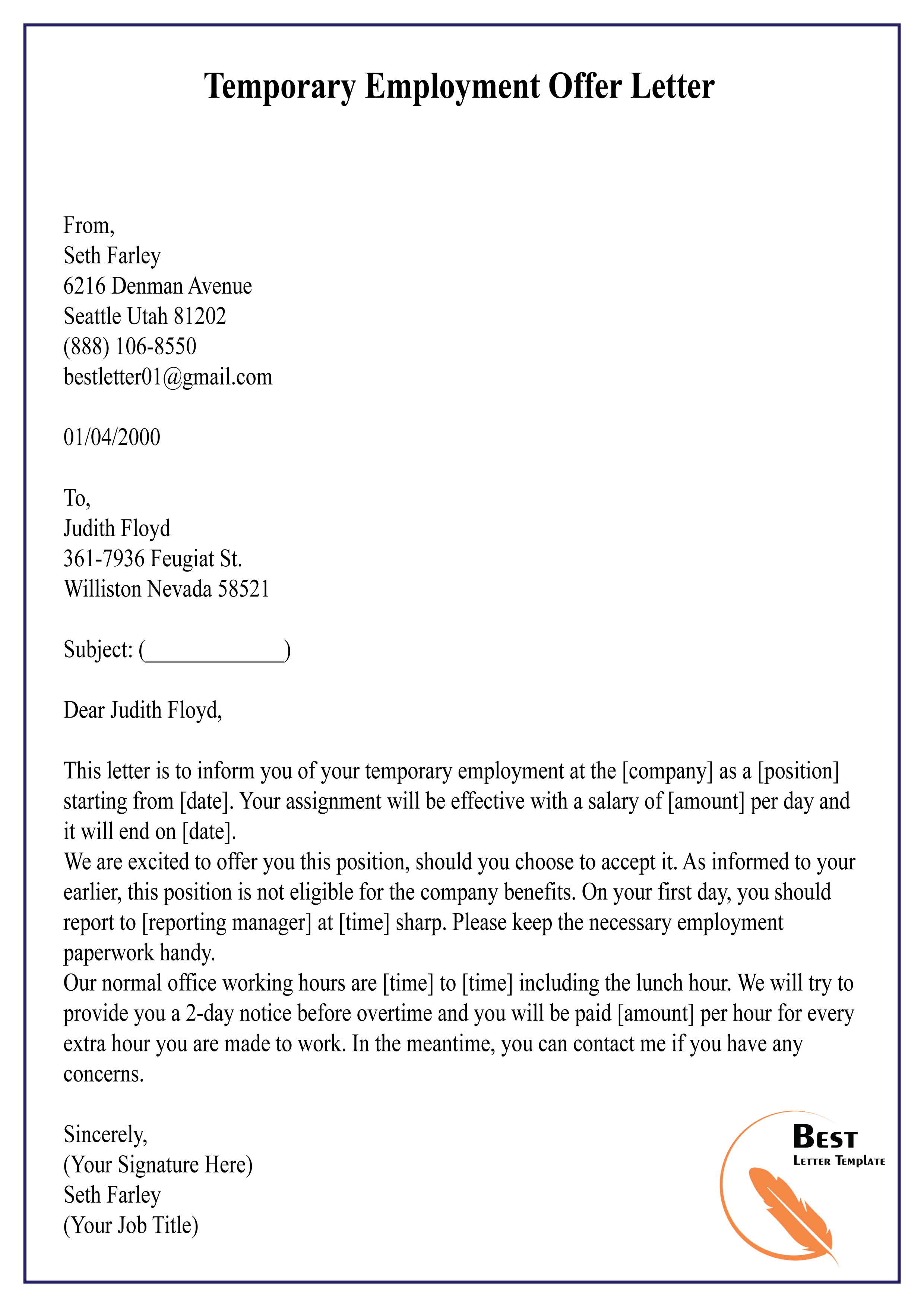 Employment Offer Letter Example from bestlettertemplate.com