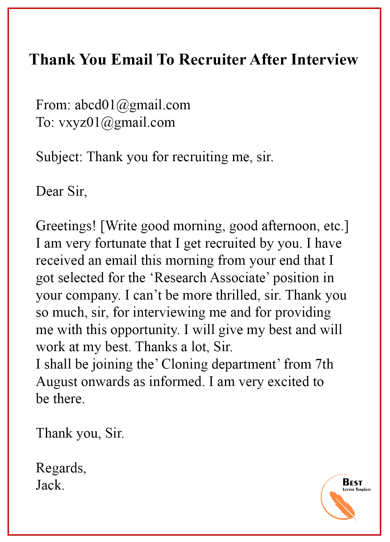 Thank You Letter Or Email After Interview from bestlettertemplate.com