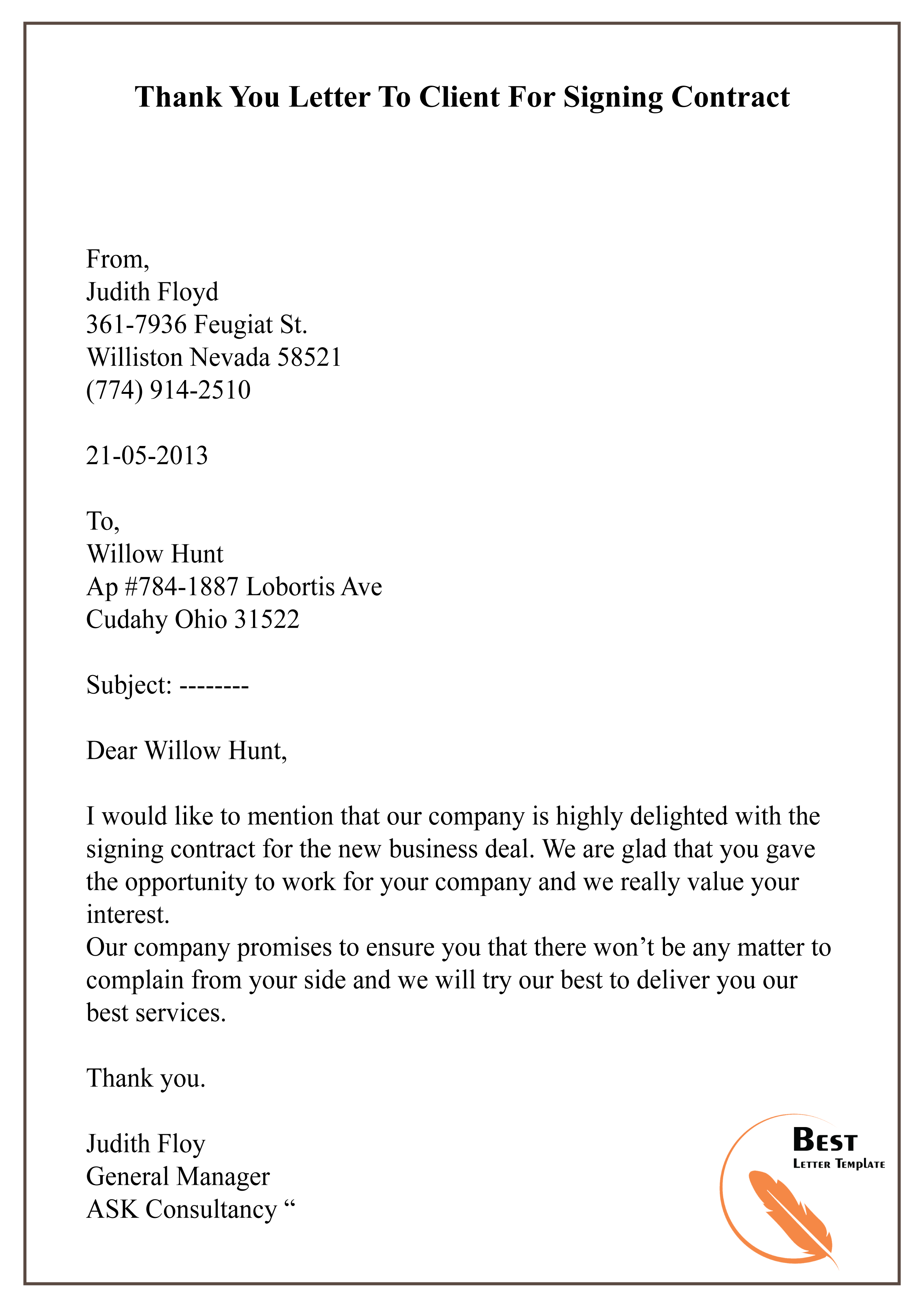 Thank You Letter To Client For Business.Thank You Letter To Client For Signing Contract 01 Best