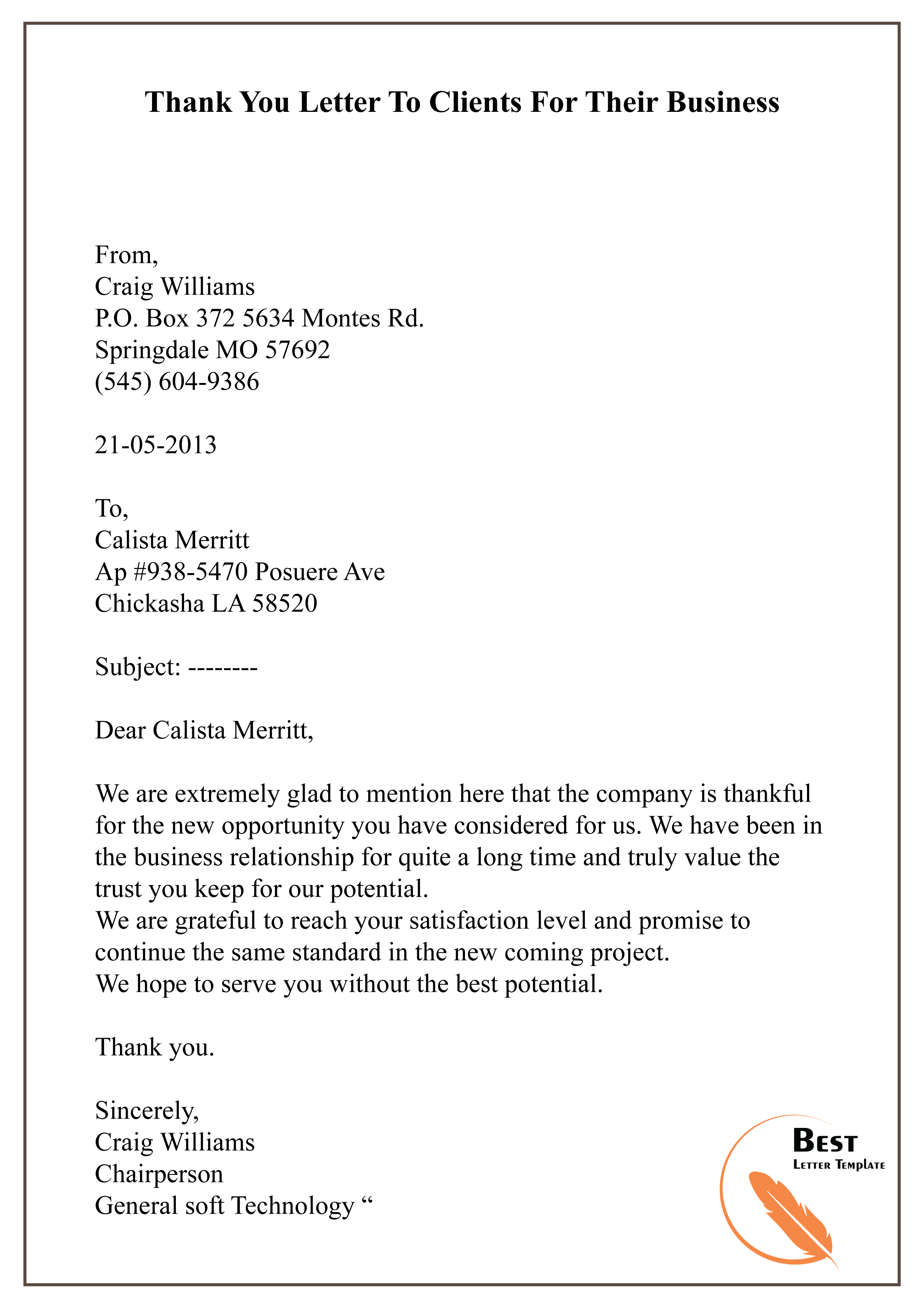 Customer Thank You Letter from bestlettertemplate.com