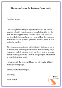 Thank you Letter for Business Opportunity