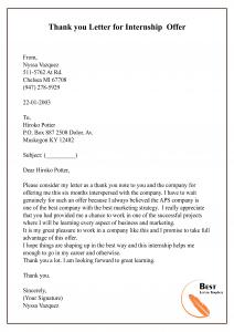Thank you Letter for Internship Offer
