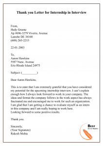 Thank you Letter for Internship in Interview