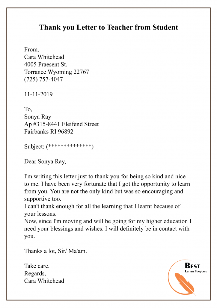 Sample Thank You Letter Template to Teacher/Professor