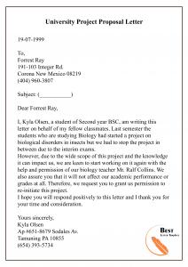 University Project Proposal Letter