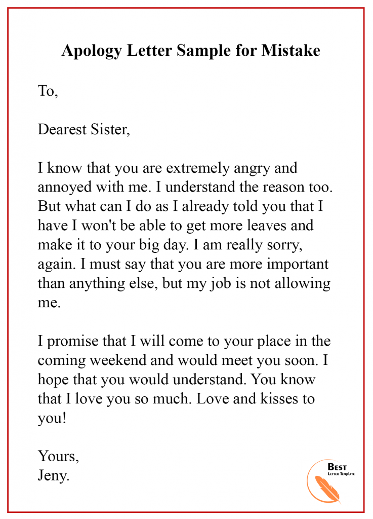 apology letter for mistake