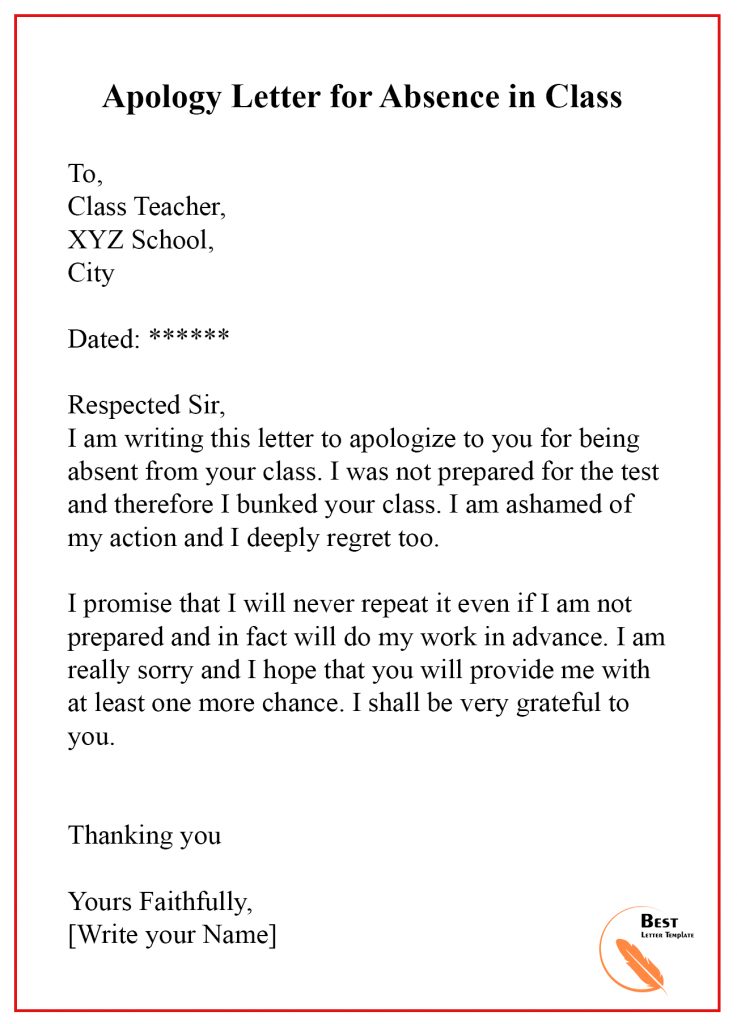 Apology Letter For Absence