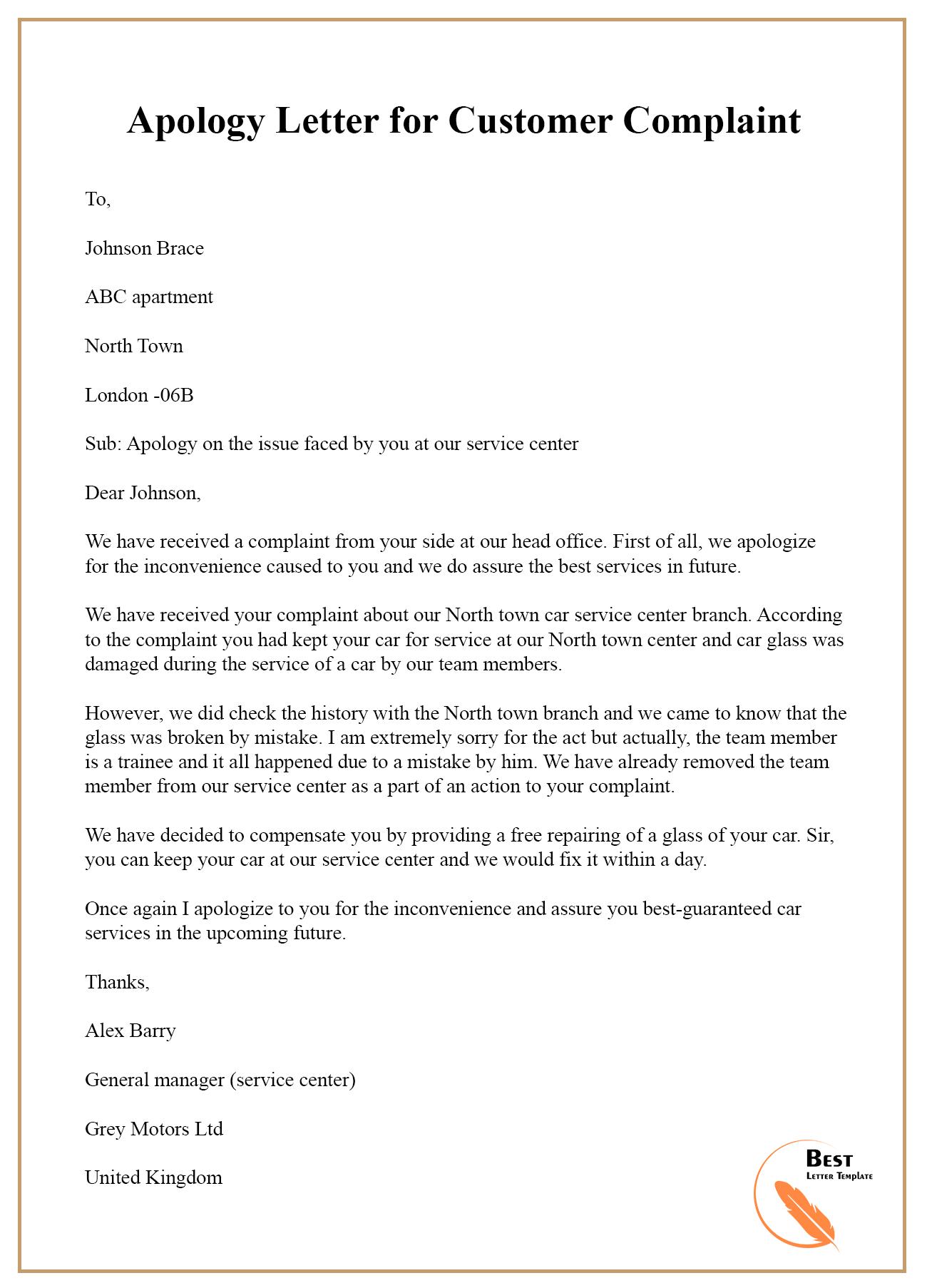 Apology-Letter-for-Customer-Complaint - Best Letter Template