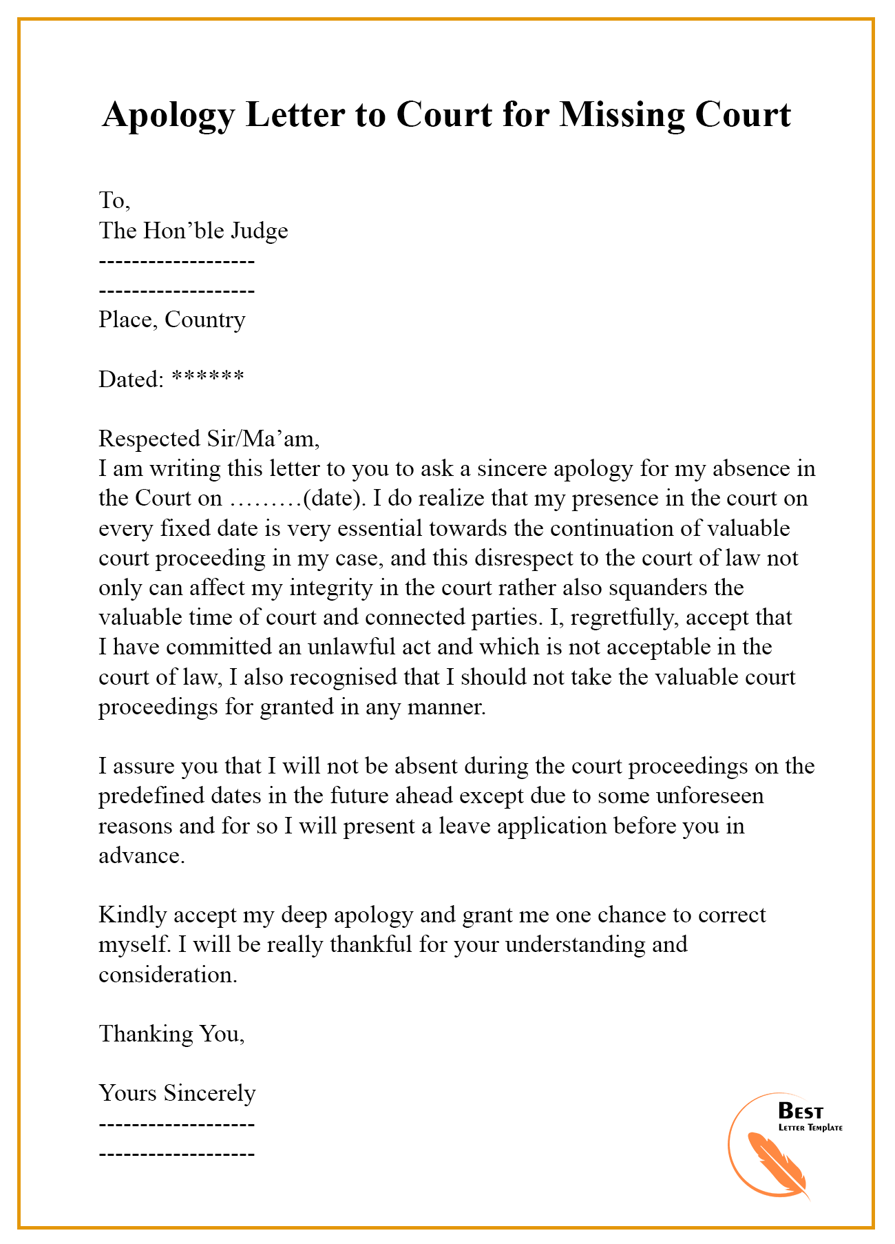 letter template for court  Apology-Letter-to-Court-for-Missing-Court | Best Letter Template