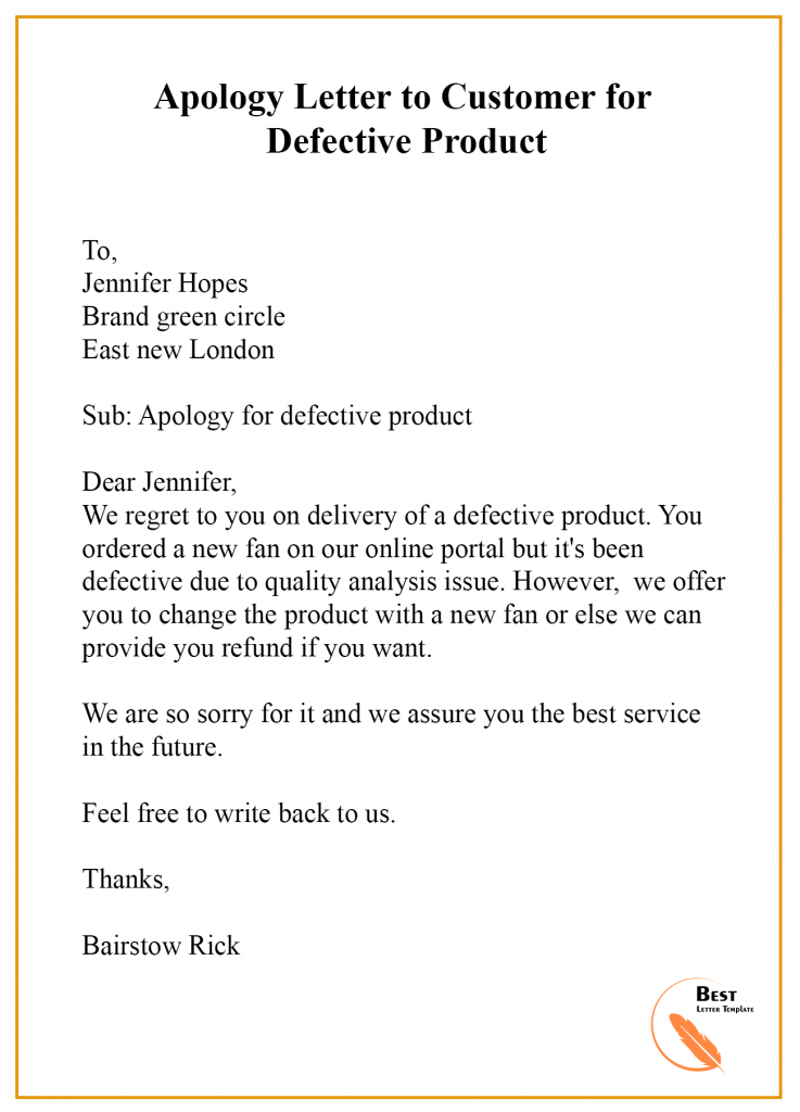 Apology Letter Template to Customer – Format, Sample