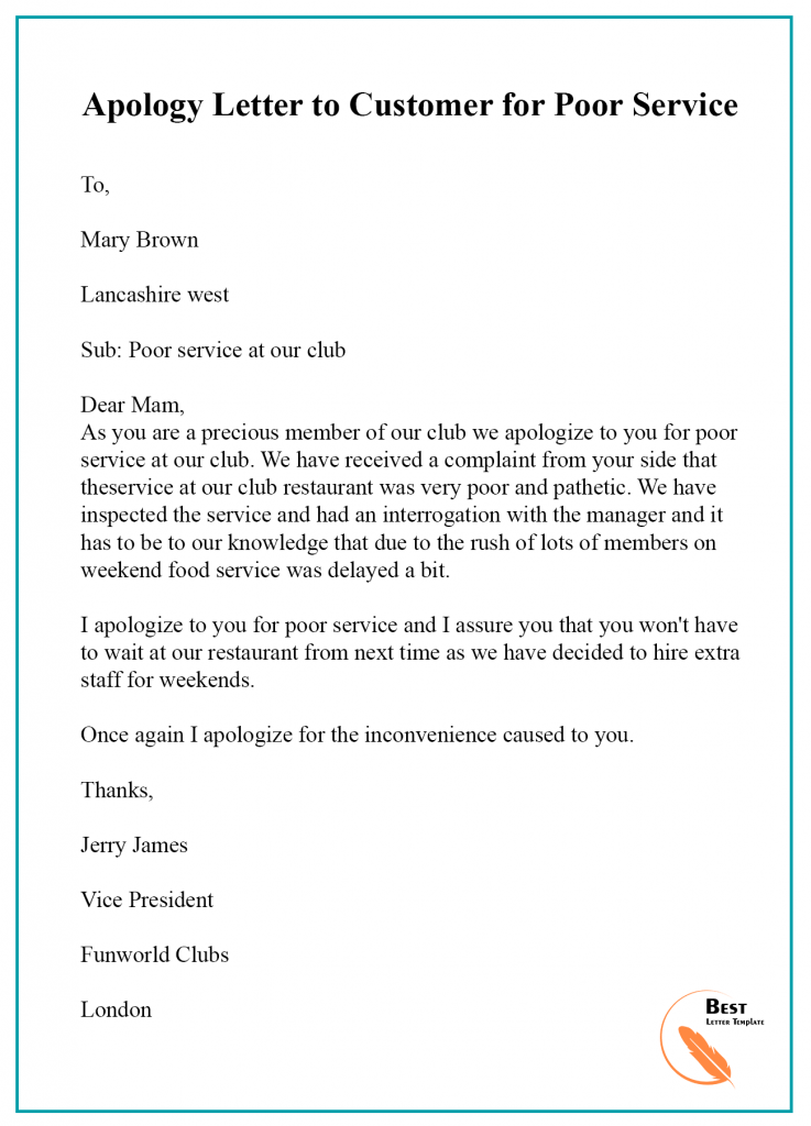 Apology-Letter-to-Customer-for-Poor-Service-737x1024 Template Apology Letter Poor Customer Service on apology letter bed bugs, disappointed customer letter service, empathy training for customer service,