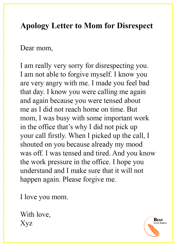 Apology Letter to Mom/Mother