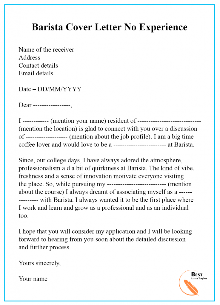 Barista Cover Letter Template Format Sample Examples