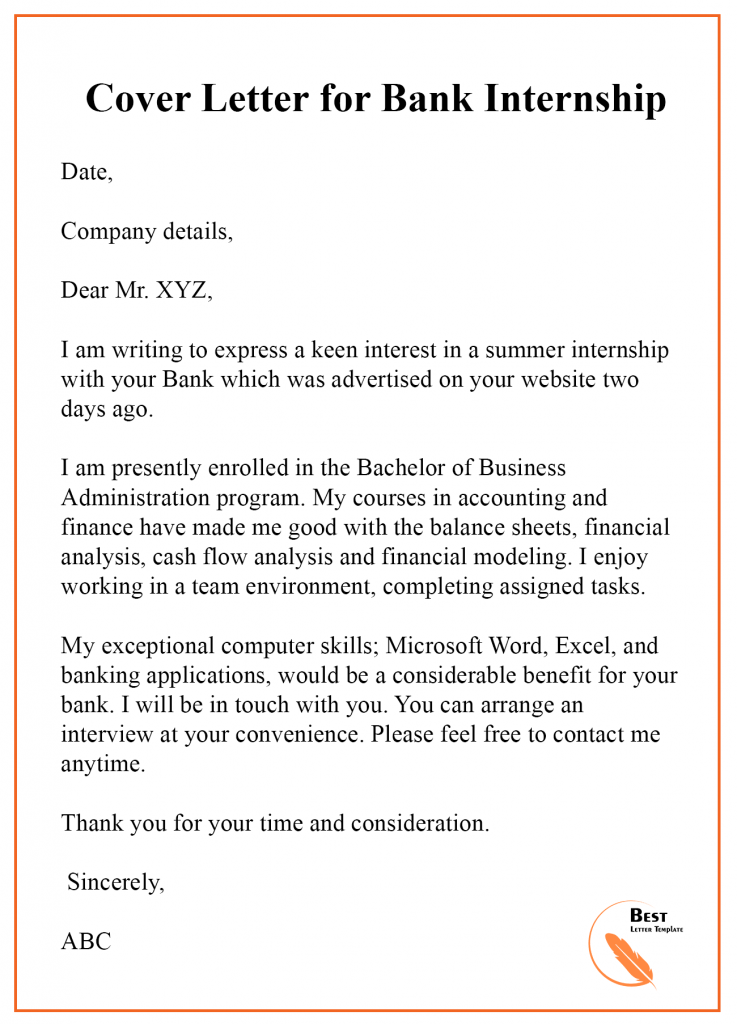 Cover Letter Template for Bank Teller – Format, Sample & Example ...