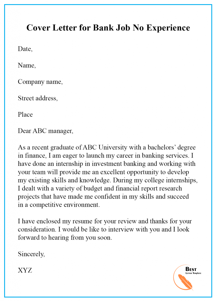 Cover Letter Template For Bank Teller Format Sample Example