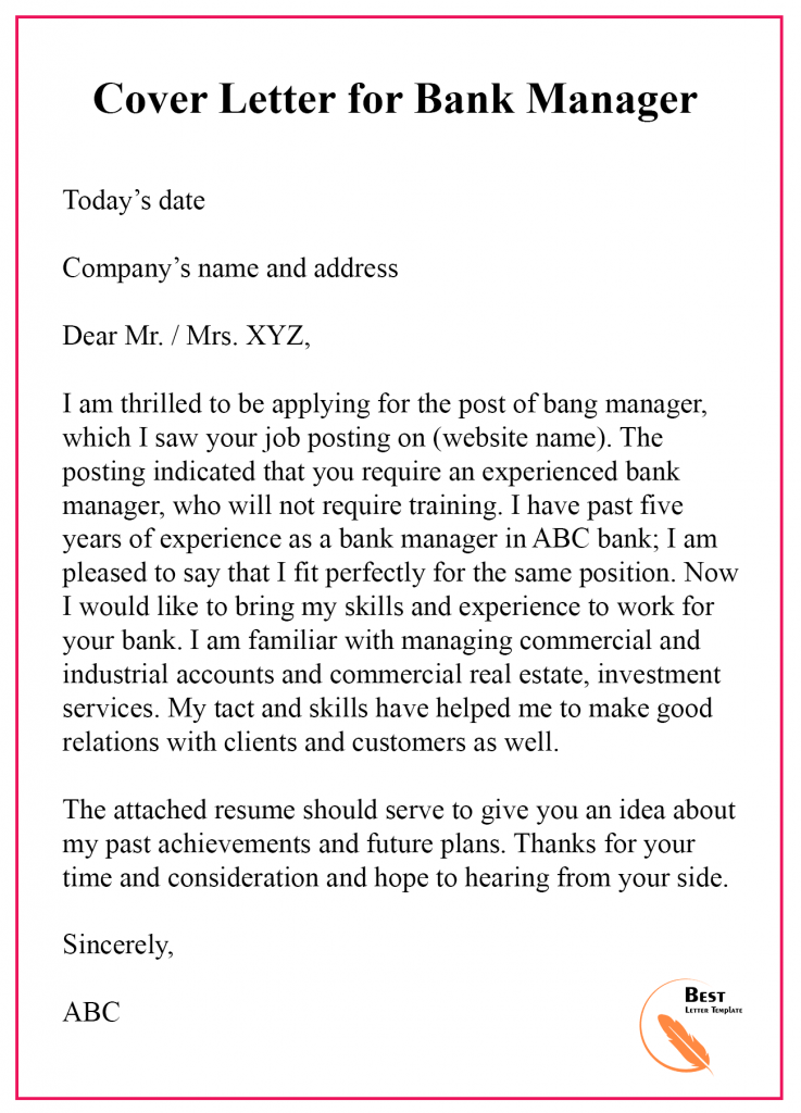 Cover Letter for bank manager
