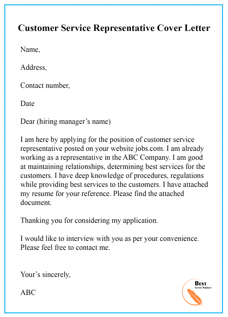 Cover Letter For Customer Service Position from bestlettertemplate.com