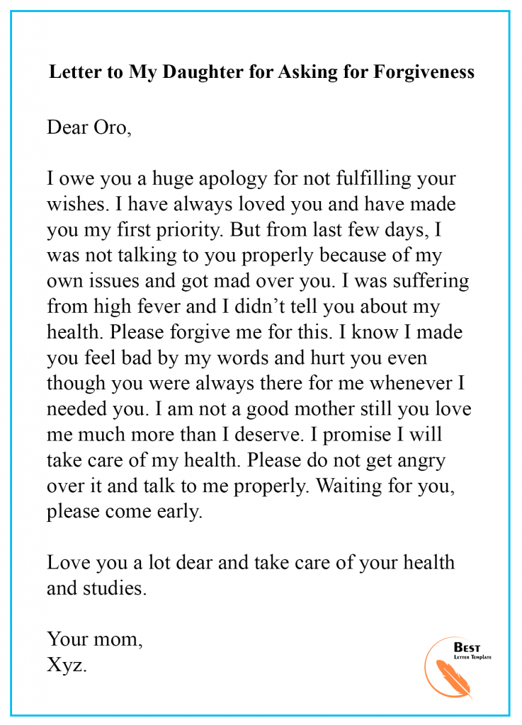 apology letter to daughter