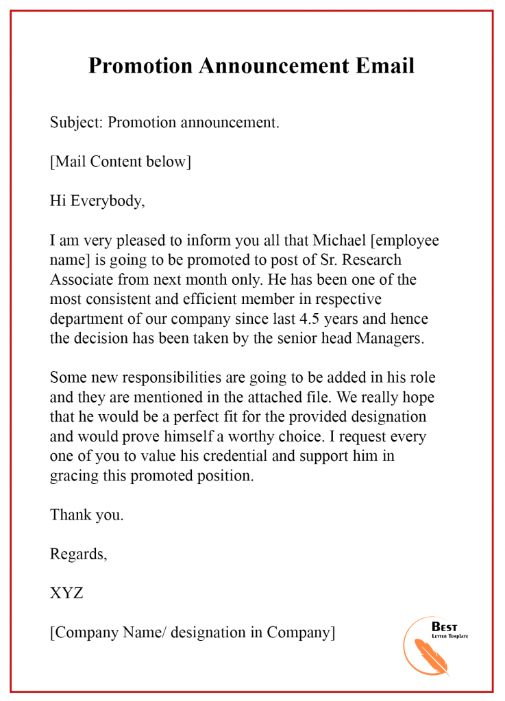 Promotion Announcement letter