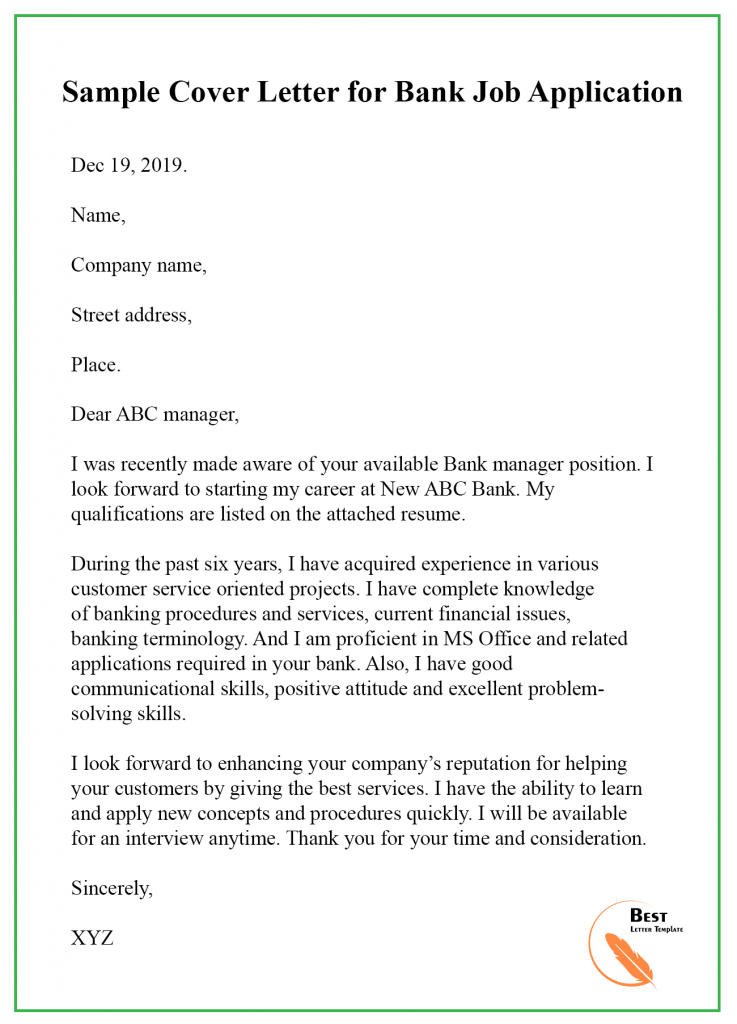Cover Letter Template for Bank Teller – Format, Sample & Example