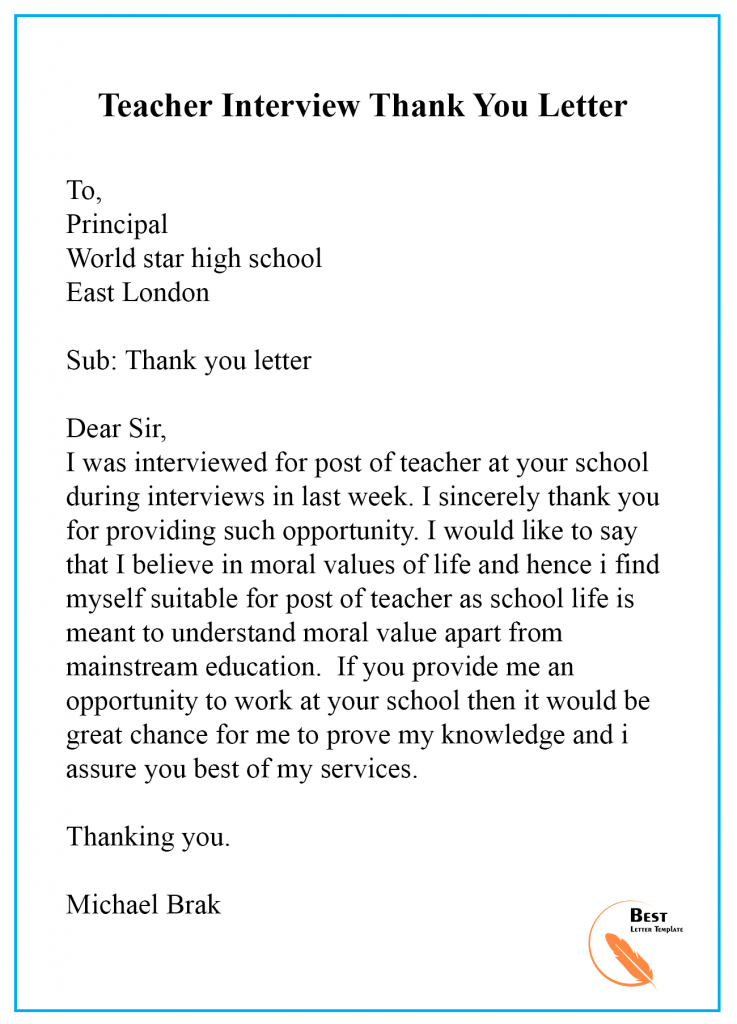 thank you note to teacher from principal