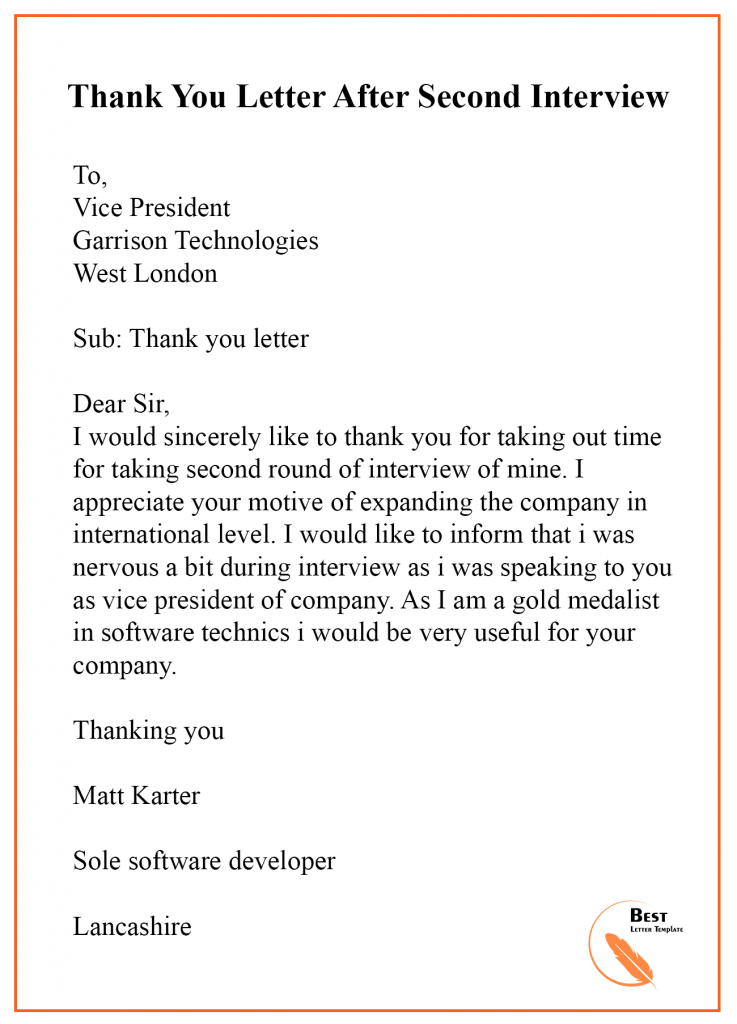 Second Interview Thank You Letter Sample from bestlettertemplate.com