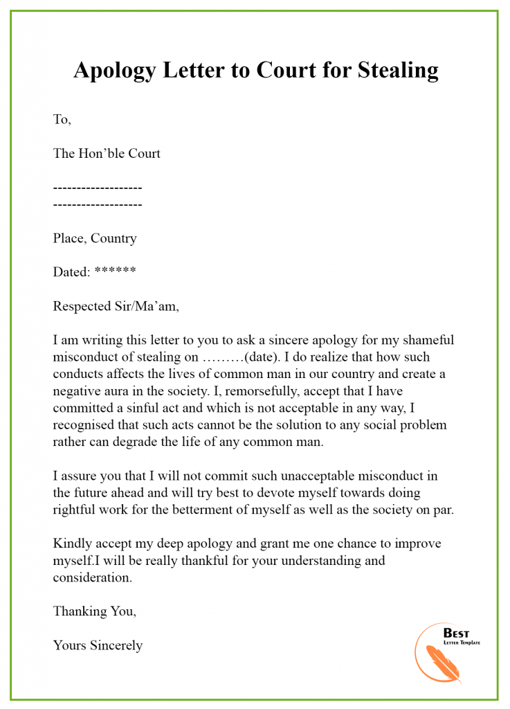 Apology Letter to Court