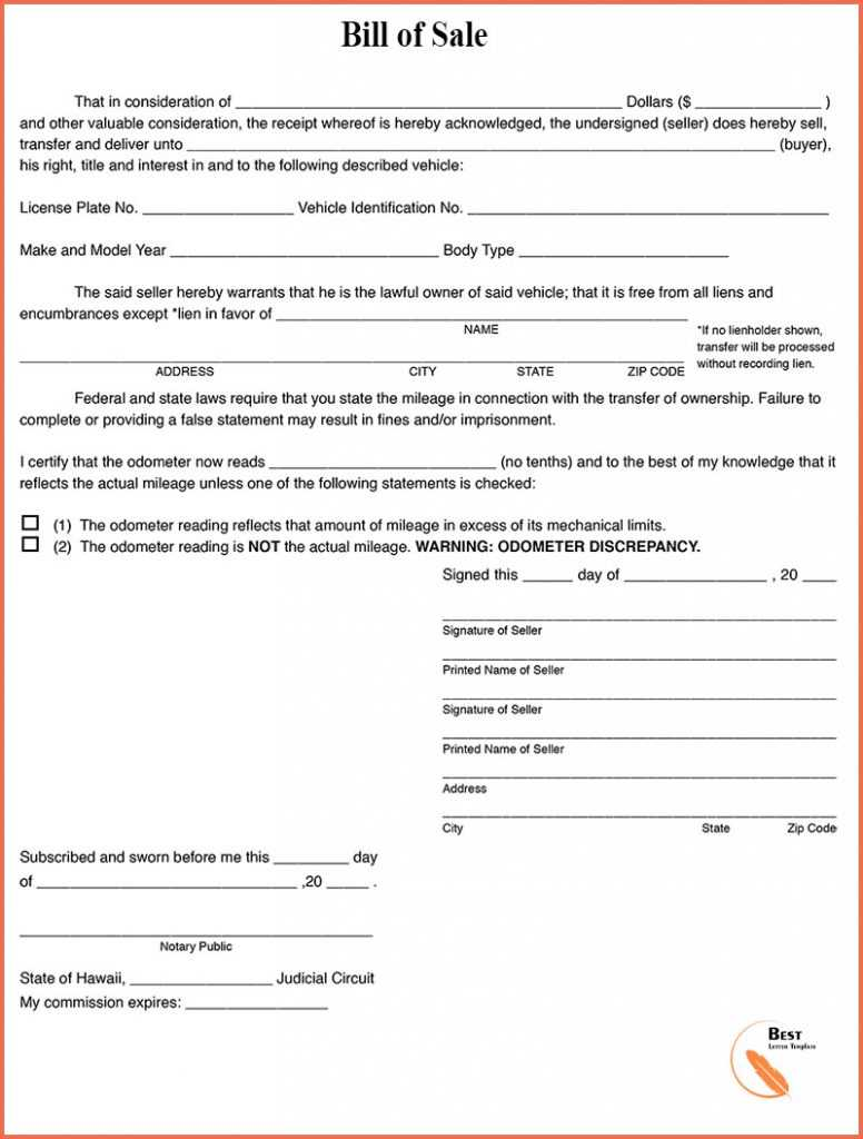 Vehicle Bill of Sale for Mississippi