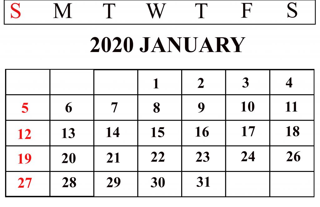 Cute January Calendar 2020 for Kids