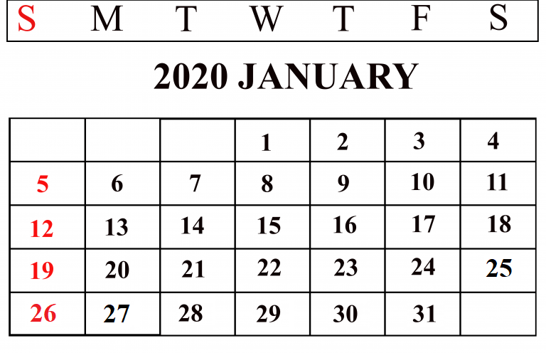 Cute January Calendar 2020 for Kids