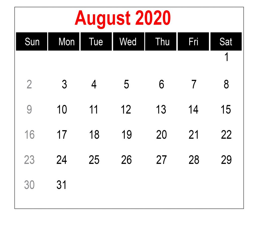 August 2020 Calendar for Kids