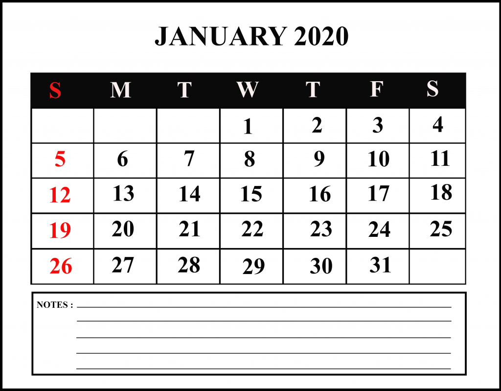January Calendar 2020 for Students