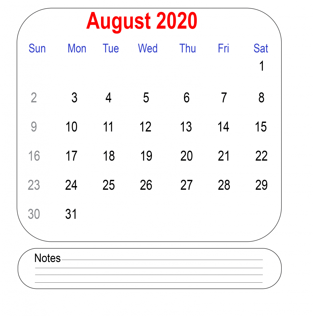 August 2020 Calendar with Notes