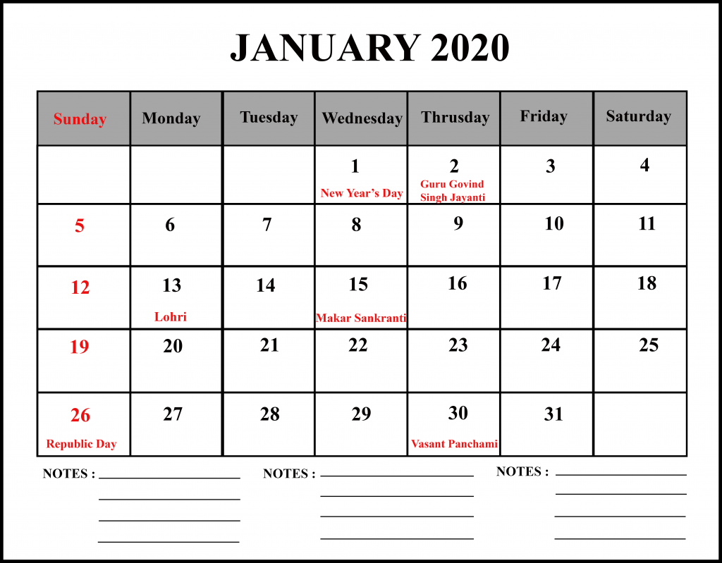 January Calendar 2020 With Notes