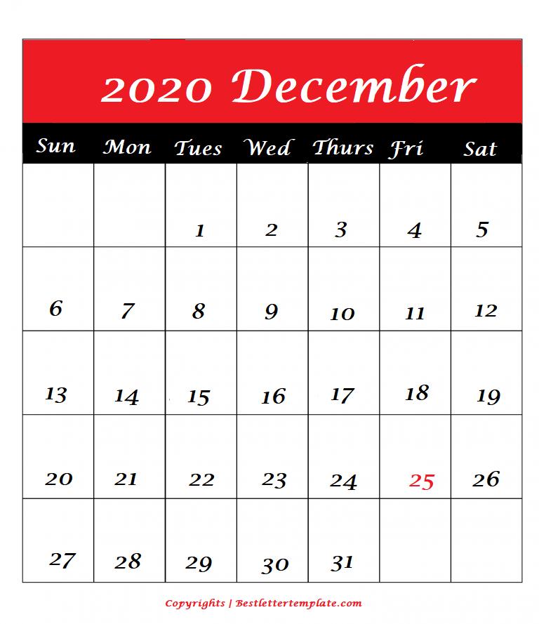 december 2020 calendar A4 Format