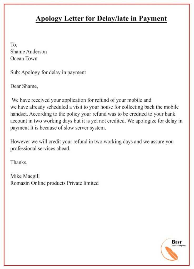 apology letter for delay in payment