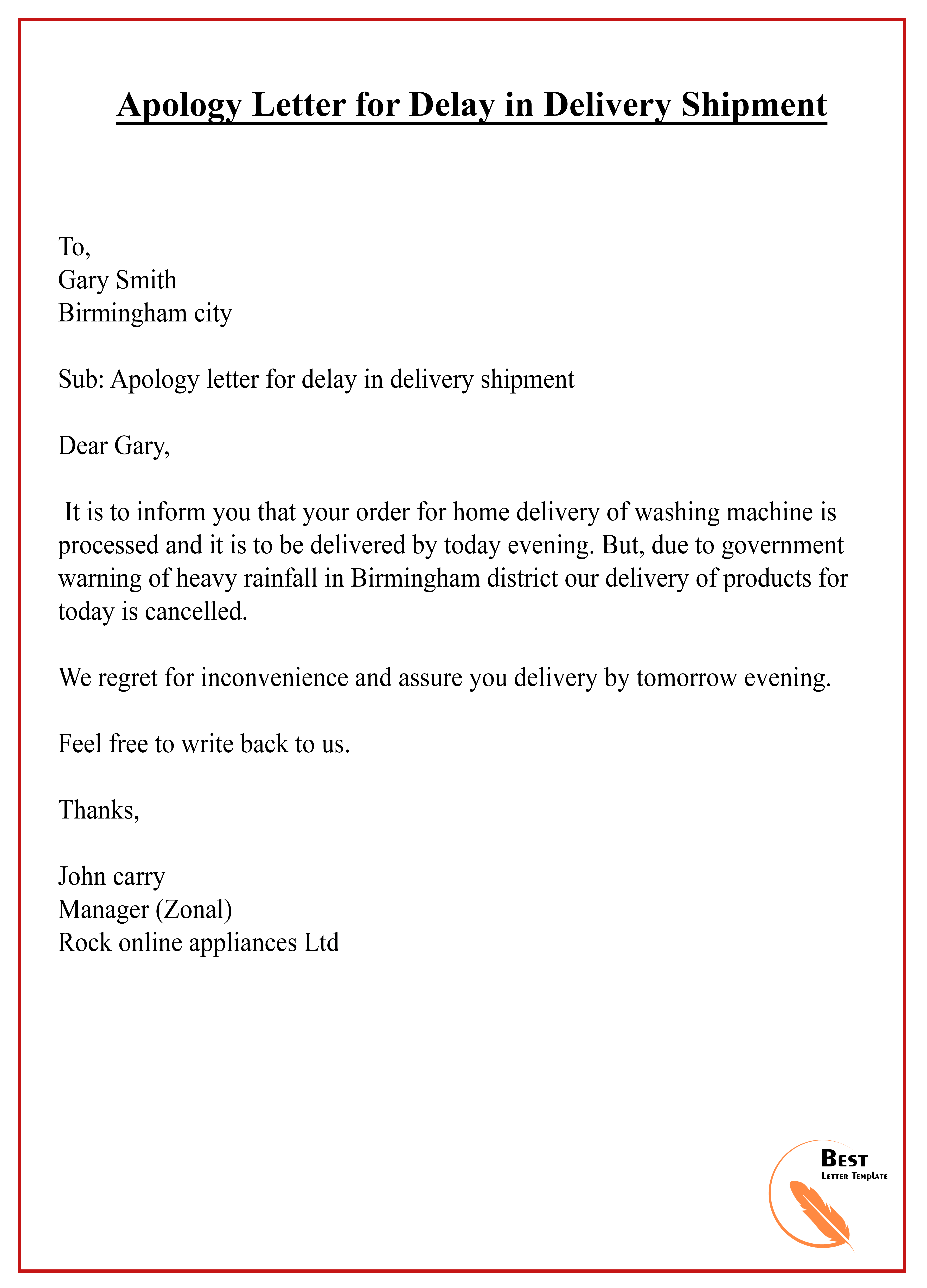 apology letter for delay in delivery