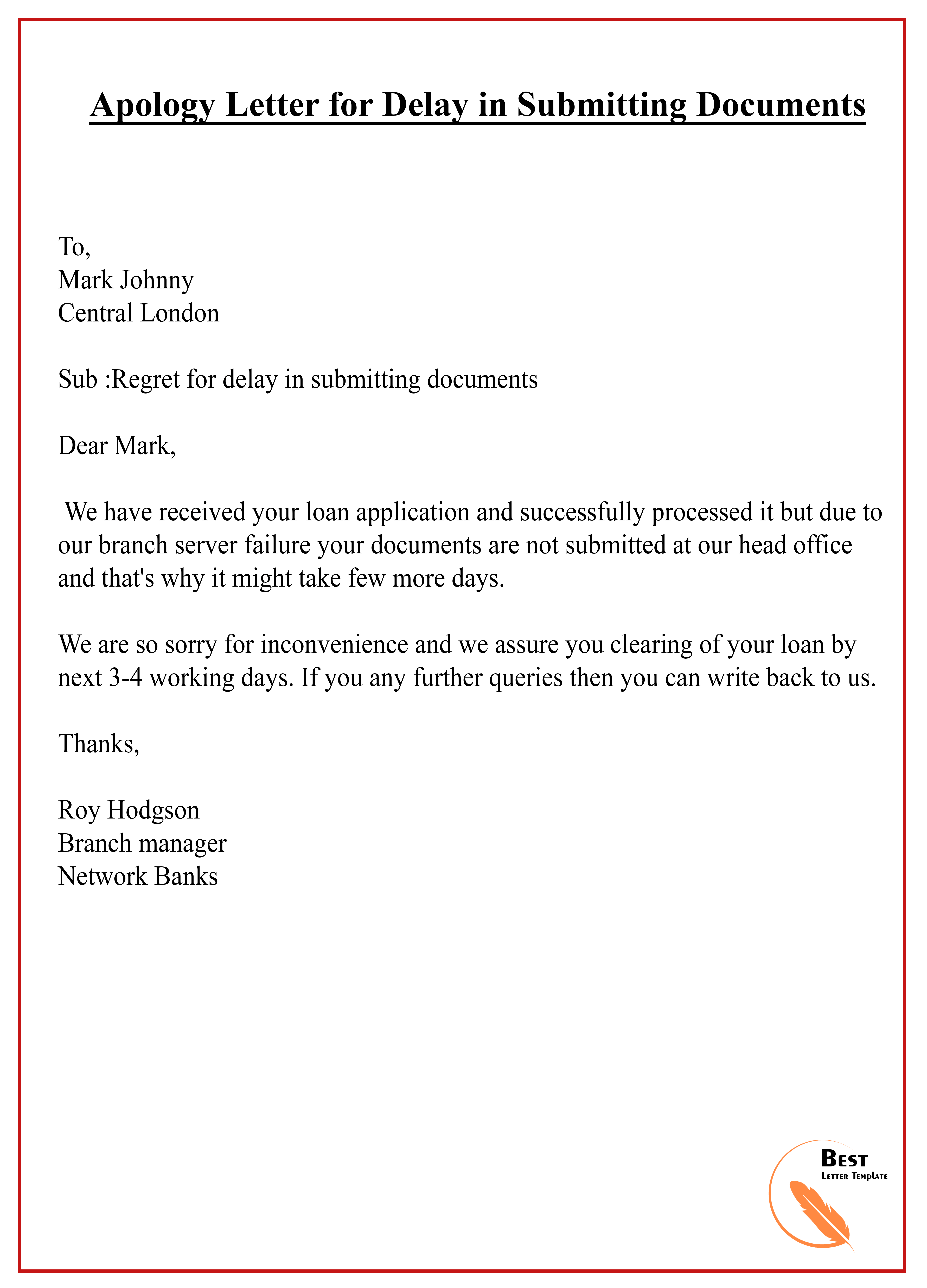 apology letter for delay in document