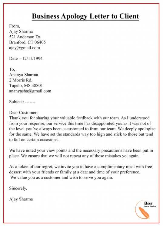 Business Apology Letter To Customer from bestlettertemplate.com