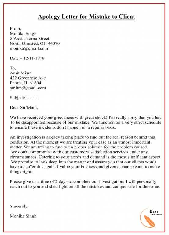 Apology Letter Template To Client – Sample & Example | Best