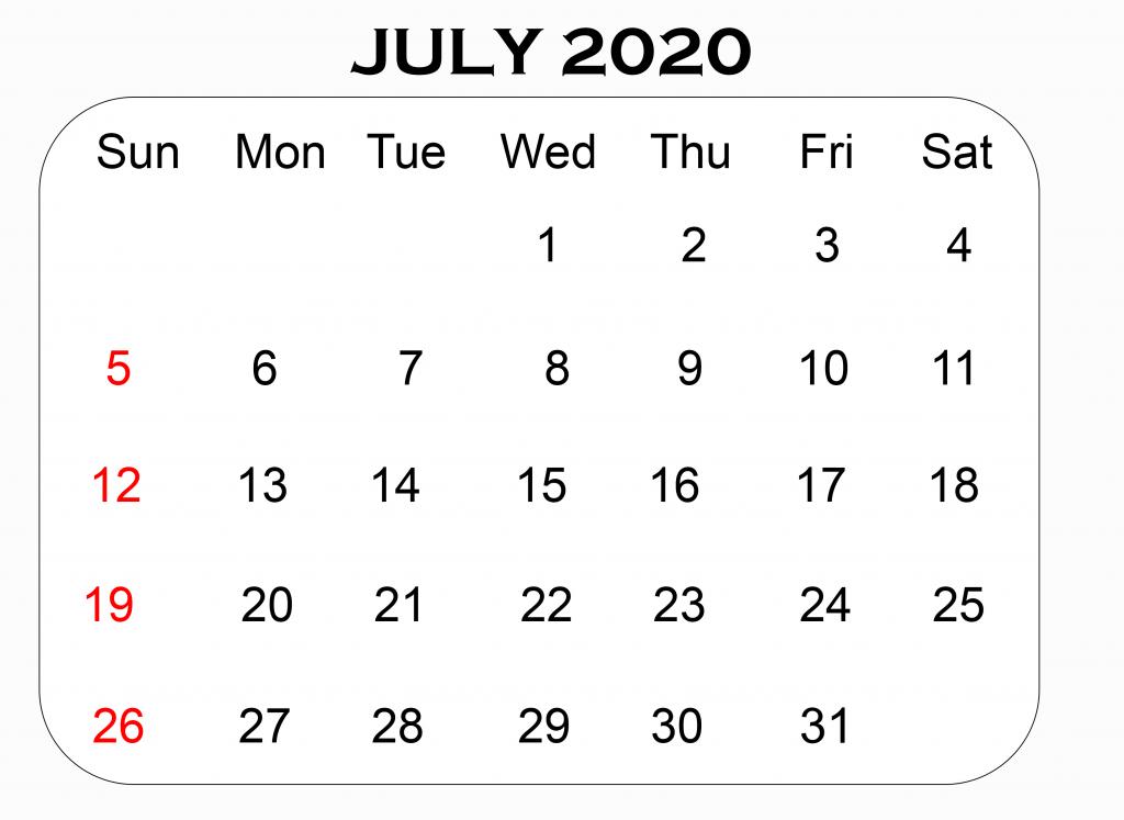 Printable July Blank 2020 Calendar