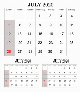 July 2020 Calendar For Students