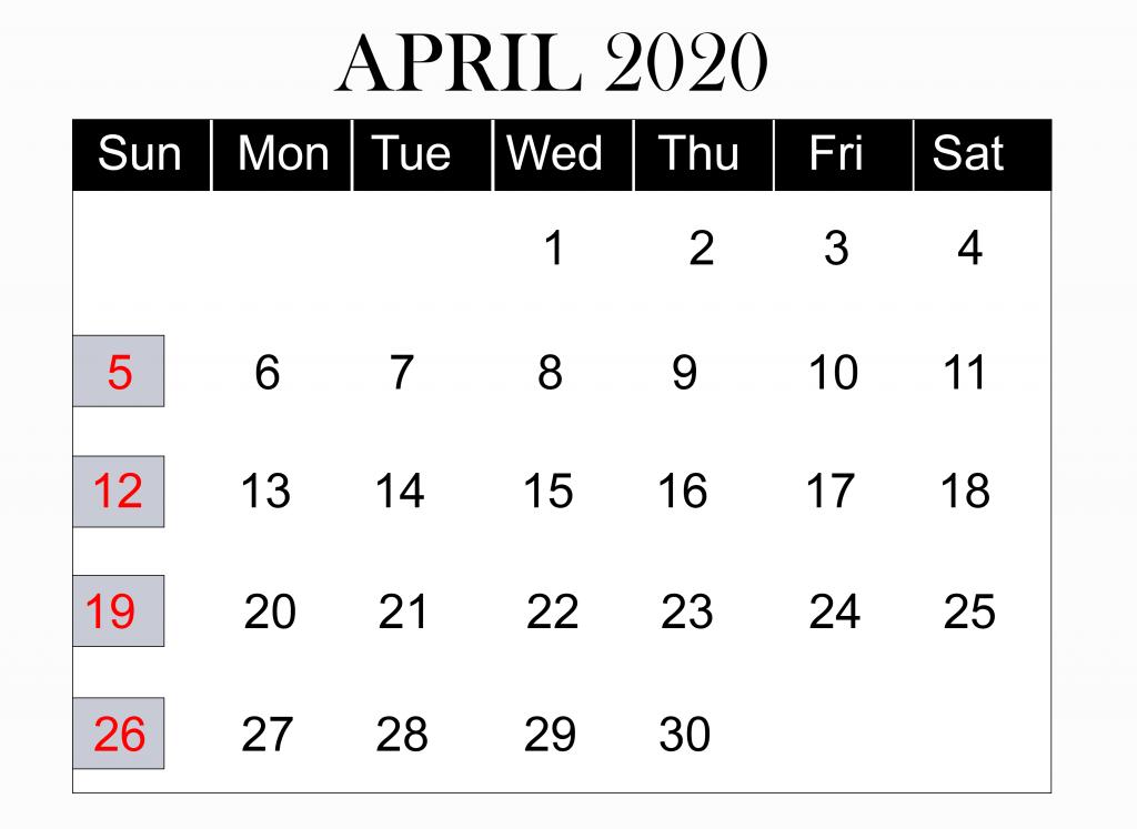 Free Printable April 2020 Calendar Template in PDF, Excel Word