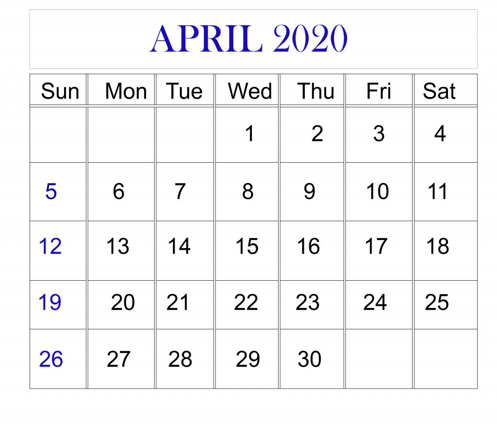 April 2020 Calendar For Students