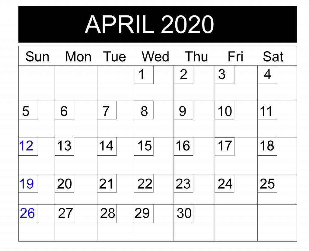 Printable Blank April 2020 Calendar