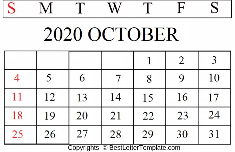 October 2020 Calendar For Kids