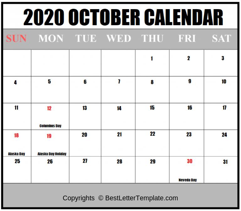 October Holiday Calendar 2020