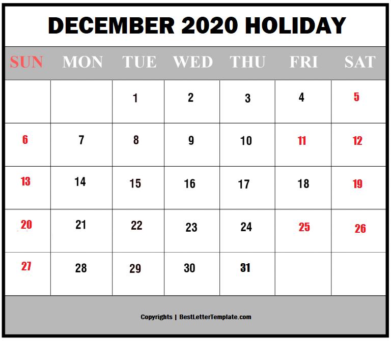 December Holiday Calendar 2020