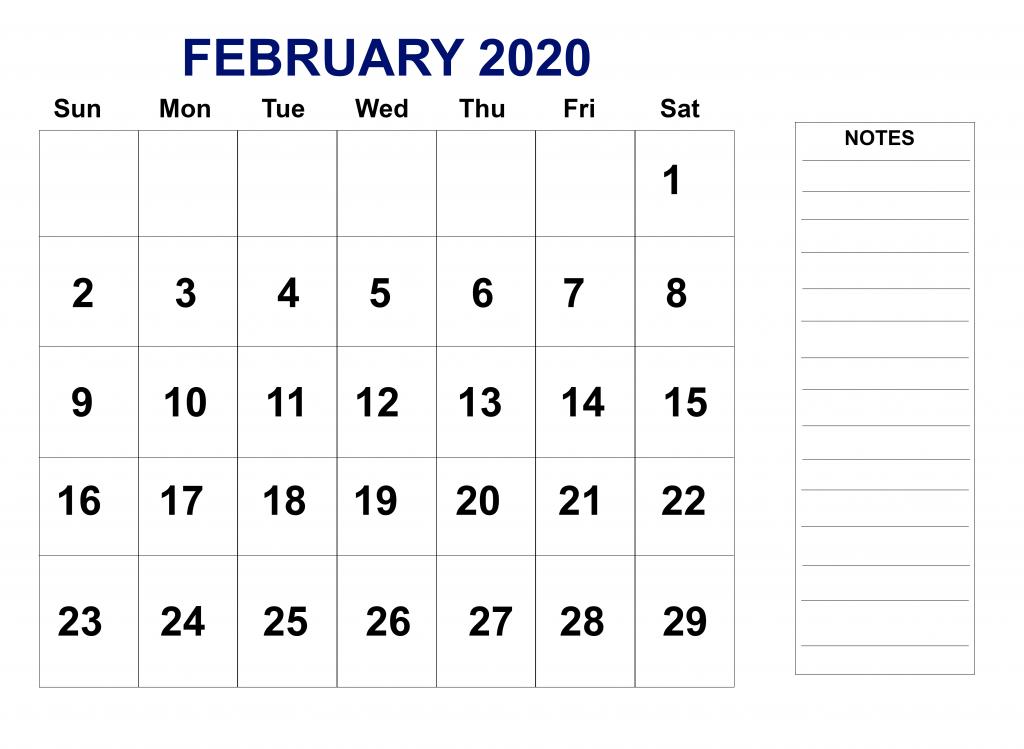 February Holiday Calendar 2020